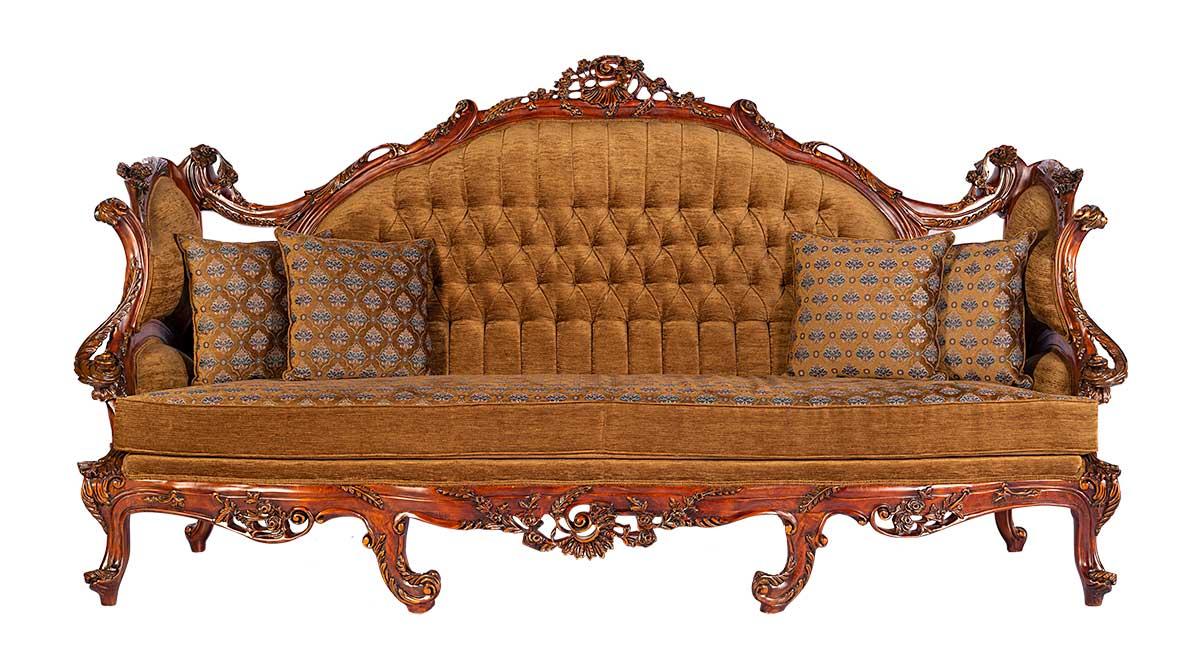 کاناپه آسوان با رنگ پارچه قهوه ای گرم