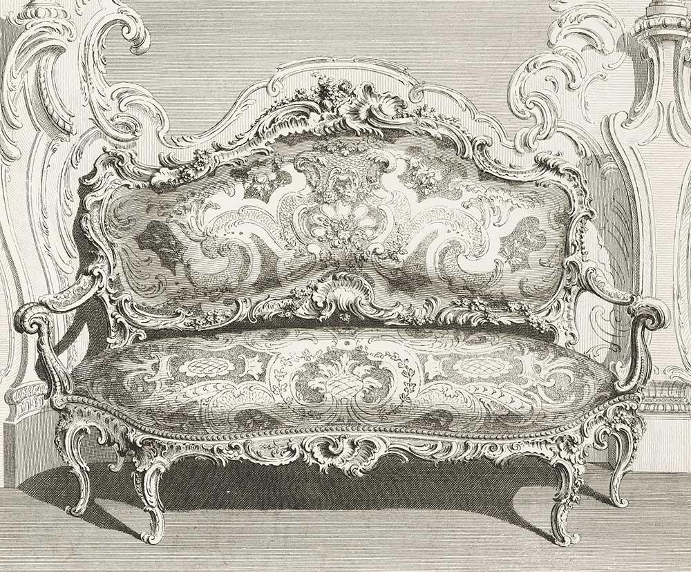 کاناپه طراحی شده با سبک روکوکو