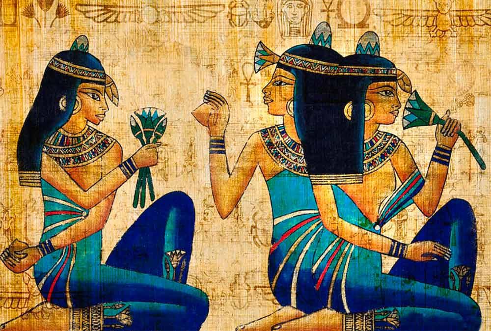نقاشی زن مصری نشسته روی زمین